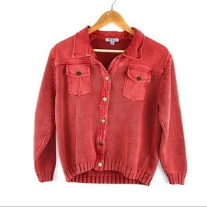 Vintage Jean and Knit Jacket in Muted Red